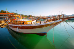 Tourism in the Mediterranean. Boat in the bay Royalty Free Stock Images