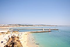Tourism at Meia Praia in Lagos Portugal Stock Photos