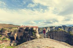 Tourism in Meteora Royalty Free Stock Photography
