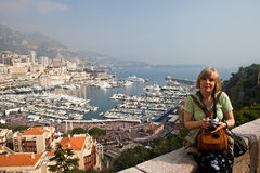 Tourism in Monaco. View of Monaco city. Yacht-port. Marina in Monaco Stock Photos
