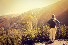 Tourism in mountains. Stock Image