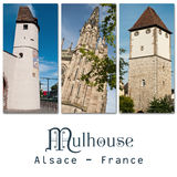 Tourism in mulhouse with differetnt monuments - collage Stock Images