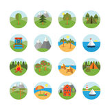 Tourism and Nature Icon Set. A set of nature and tourism icons, eps 10, no transparencies Royalty Free Stock Photo