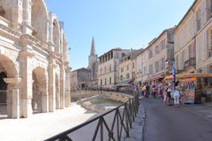 Tourism near roman amphitheatre, Arles, France Royalty Free Stock Photography