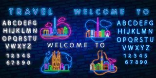 Tourism neon sign. travel design. Night bright neon sign, colorful billboard, light banner. Vector illustration in neon style. Tourism neon sign. travel design stock illustration