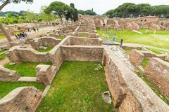 Tourism in the old town of Ostia, Rome, Italy Royalty Free Stock Photos
