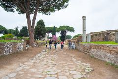 Tourism in the old town of Ostia, Rome, Italy Royalty Free Stock Images