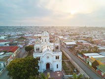 Tourism place in Diriamba. Town Nicaragua. Aerial drone view on famous church in Diriamba Stock Photo