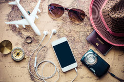 Free Tourism Planning And Equipment Needed For The Trip On Map. Stock Photography - 90424462