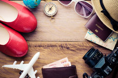 Tourism planning and equipment needed for the trip Stock Photos