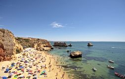Tourism in Portugal. Tourism in the Algarve at the westcoast near Lagos in Portugal Stock Image