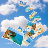 Tourism Postcards. Vacation postcards in the sky Stock Image