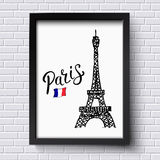Tourism poster or card design for Paris Stock Photos