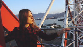 Tourism: pretty woman sightseeing city from height stock video