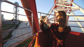 Tourism: pretty woman sightseeing city from height stock footage