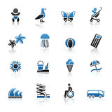 Tourism, Recreation & Vacation, icons set. Stock Photos