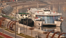 Tourism on river. River tourist ship in harbor Royalty Free Stock Photos