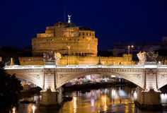 Tourism rome castel sant angelo. Night image of the famous destination of castel sant angelo in vatican city rome Italy Stock Photo