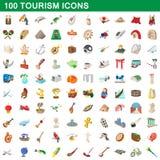 100 tourism set, cartoon style Stock Photos