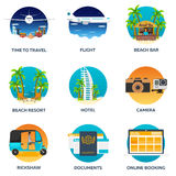 Tourism. Set Travelling illustration. Modern flat design. Travel by airplane, vacation, adventure, trip. Flight, beach bar, beach. Resort hotel camera rickshaw Royalty Free Stock Image