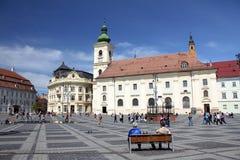 Tourism in Sibiu, Romania. Great Plaza of Sibiu Stock Photography