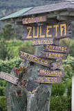 Tourism sign in the Zuleta village. A popular destination Stock Photos
