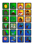 Tourism signs collection. Illustration of some tourism icons used as travel signs Royalty Free Illustration