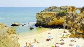 Tourism at the southcoast near Lagos in Portugal Stock Photos