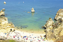 Tourism at the southcoast near Lagos in Portugal. Tourism at the southcoast near Lagos in the Algarve Portugal Royalty Free Stock Photo