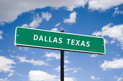 Tourism Street Sign with blue clouds. Informational sign travel tourism to Dallas Texas transportation highway downtown Royalty Free Stock Photography