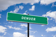 Tourism Street Sign with blue clouds. Informational sign travel tourism to denver colorado transportation highway downtown Stock Photography
