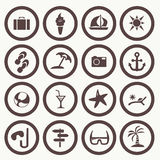 Tourism and summer set icons Royalty Free Stock Images