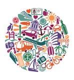 Tourism symbol. Vector illustration. Symbols of travel in style of a retro. Vector illustration Stock Photo