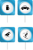 Tourism symbols 2. Vector icons of tourism symbols Stock Photos