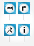 Tourism symbols. Vector icons of tourism symbols . Set 1 Royalty Free Stock Images