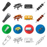 Tourism, transportation, tools and other web icon in different style. meat, picnic, hiking icons in set collection. Tourism, transportation, tools and other Royalty Free Stock Images