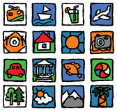 Tourism&travel. The set of icons concerns the tourism, travel, rest and vacation Stock Photos