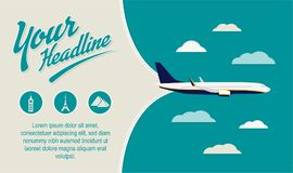 Tourism, Travel Agency flyer. Best for print, web, social media banner. Airplane at the sky, slogan and text template. World sights icons Royalty Free Stock Photo