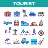 Tourism And Travel Around World Vector Linear Icons Set vector illustration