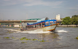 The Tourism and travel in Bangkok by the Chao Phraya Express Boa Stock Image