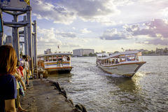 Tourism and travel in Bangkok by the Chao Phraya Express Boa Royalty Free Stock Photography