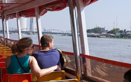 Tourism and travel in Bangkok by the Chao Phraya Express Boa Royalty Free Stock Images