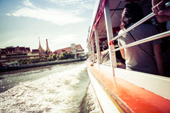 Tourism and travel in Bangkok by the Chao Phraya Express Boa Royalty Free Stock Image