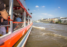 The Tourism and travel in Bangkok by the Chao Phraya Express Boa Royalty Free Stock Photography