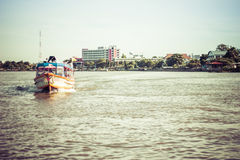 the Tourism and travel in Bangkok by the Chao Phraya Express Boa Royalty Free Stock Photo