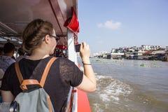 Tourism and travel in Bangkok by the Chao Phraya Express Boa Royalty Free Stock Image