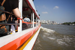 Tourism and travel in Bangkok by the Chao Phraya Express Boa Stock Image