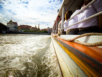 Tourism and travel in Bangkok by the Chao Phraya Express Boat. Stock Image