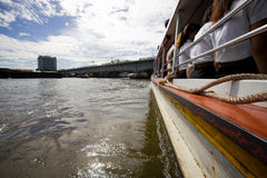 Tourism and travel in the Bangkok by the Chao Phraya Express Boat. Stock Photography