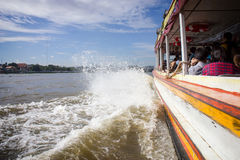 Tourism and travel in Bangkok by the Chao Phraya Express Boat Stock Photo